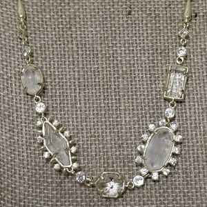 NWT CLEAR ROCK CRYSTAL JUNE NECKLACE IN GOLD